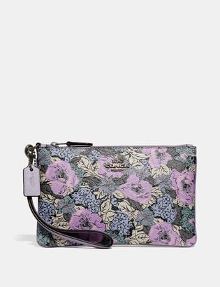 Coach Small Wristlet With Heritage Floral Print