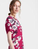Joules Womens Krista Short Sleeved Woven Dress in Dark Pink Posy Print