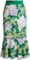 Dolce & Gabbana Hydrangea-print ruffled-hem cady skirt