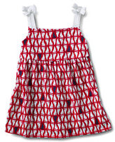 Classic Little Girls Tie Shoulder Shirred Front Knit Tank-Fire Red Sailboat