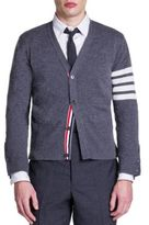 Thom Browne Bar Striped Sleeve Cashmere Cardigan
