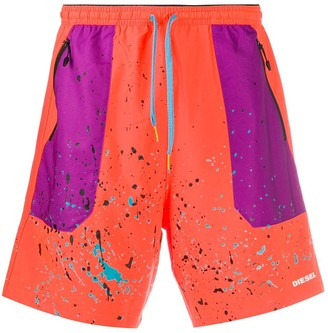 Diesel Paint Splatter Effect Contrast Panel Shorts