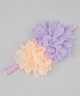 Jean Marie Lavender & Peach Glittery Flower Headband