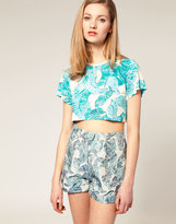 Cropped T-Shirt with Leaf Print