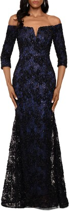 Xscape Evenings Off the Shoulder Sequin Floral Trumpet Gown