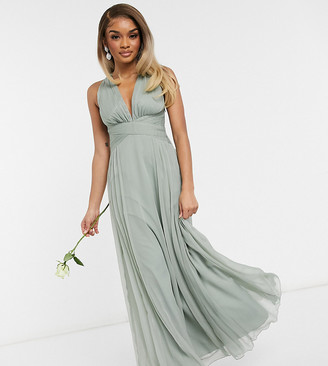 ASOS DESIGN Petite Bridesmaid ruched bodice drape maxi dress with wrap waist in olive