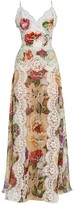 Dolce & Gabbana Georgette Floral-Print Lace Panel Maxi Dress