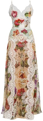 Dolce & Gabbana Georgette Floral-Print Lace Panel Maxi Dress