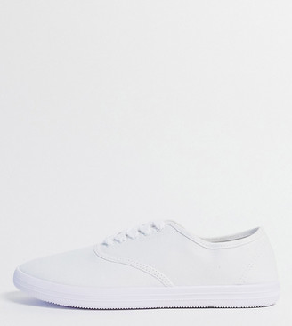 Asos DESIGN Wide Fit oxford plimsolls in white canvas