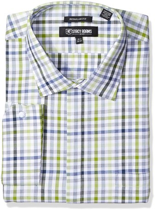 Stacy Adams Men's Big and Tall Big & Tall Grid Check Classic Fit Dress Shirt