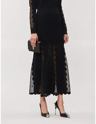 Alexander McQueen Ottoman sheer paneled stretch-jersey midi skirt