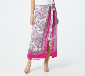 Susan Graver Petite Printed Liquid Knit Skirt with Chiffon Wrap