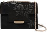 AERIN Embroidered Suede Shoulder Bag - Black
