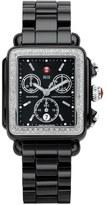 Michele 'Deco Diamond' Chronograph Ceramic Bracelet Watch, 33mm x 35mm