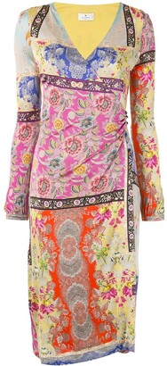 Etro Mixed-Pattern Paisley Print Dress