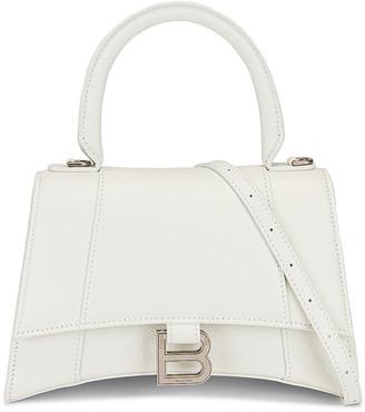 Balenciaga Small Hourglass Top Handle Bag in White   FWRD