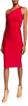 Herve Leger Icon Asymmetric One-Shoulder Dress