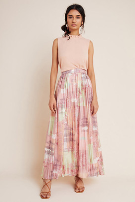 Petra Pleated Silk Maxi Skirt By Pinnacle in Pink Size XS