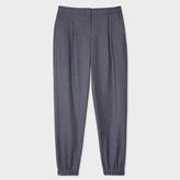 Paul Smith Women's Mottled Grey Wool-Flannel Cuffed Trousers