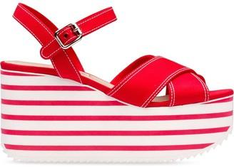 Miu Miu Striped Platform Sole Sandals