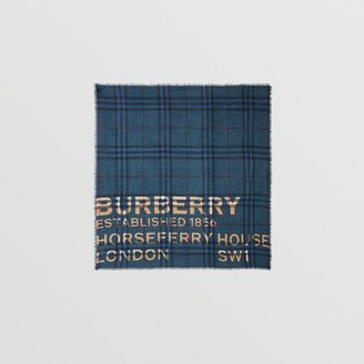Burberry Horseferry Print Check Wool Silk Large Square Scarf