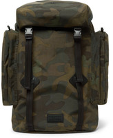 Polo Ralph Lauren Leather-trimmed Camouflage-print Canvas Backpack - Green