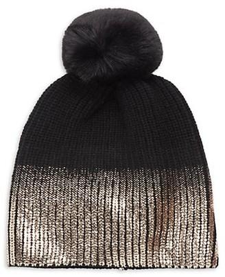 Jocelyn Faux Fur Pom Metallic Ombre Knit Hat
