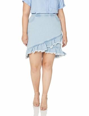 City Chic Women's Apparel Plus Size Skirt Denim Fling 22