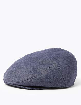 M&S CollectionMarks and Spencer Wool Herringbone Flat Cap with Thermowarmth