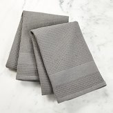 Crate & Barrel Waffle-Terry Grey Dish Towels, Set of 2