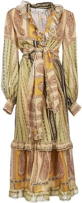 Etro Ruffled Detail Long Belted Waist Dress