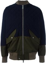 Sacai frayed edge bomber - men - Cotton/Polyester/Cupro/Wool Felt - 3