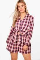 boohoo Plus Becca Checked Shirt and Short PJ Set