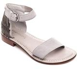 Bernardo Taci Suede Beaded Fringe Ankle Strap Sandals