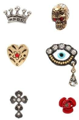 Betsey Johnson 6-Piece Two-Tone & Crystal Single Stud Earring Set