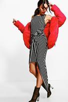 boohoo Rebekah Striped Midaxi Dress black