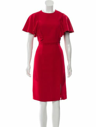 Giambattista Valli Ruffle Midi Dress w/ Tags Red