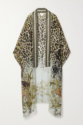 Camilla Crystal-embellished Printed Silk Crepe De Chine Kimono - Leopard print