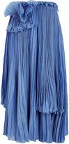 Rochas Cornflower Blue Pleated Detail Skirt