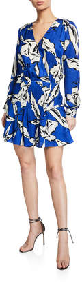 Veronica Beard Naomi V-Neck Long-Sleeve Floral-Print Silk Dress