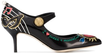 Dolce & Gabbana Black Embellished Leather Mary Jane 70 pumps