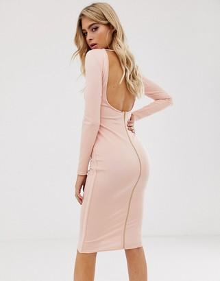 Asos Design DESIGN backless long sleeve bandage midi dress with zip detail