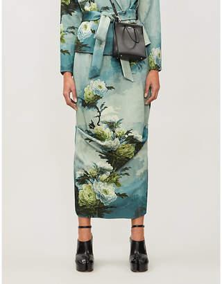 Selfridges Act N1 Floral-print cotton-blend satin-twill midi skirt