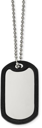 Chisel Stainless Steel Brushed and Mirrored Removeable Black Rubber 24-inch Dog Tag Beaded Chain Necklace