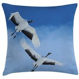 "clear 2 Crowned Crane with Open Wings Flying in Sky Indoor / Outdoor 28"" Throw Pillow Cover East Urban Home"