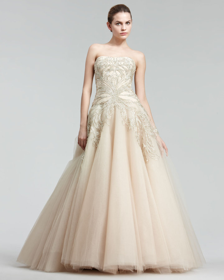Marchesa Embroidered Princess Gown