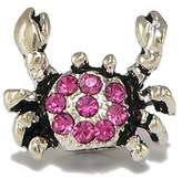 Olympia Pink Crystal Crab Charm - Fits Euro-Style Bracelets - Major Brand Compatible Bead Charm - by Beads & Charms