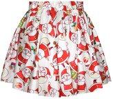 Moonpin Women's Christmas Santa Claus Print Strechy Skater Skirt