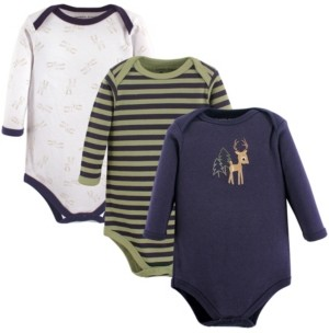 Luvable Friends Baby Boys and Girls Deer Long-Sleeve Bodysuits, Pack of 3