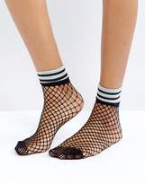 Asos Fishnet Glitter Stripe Welt Socks